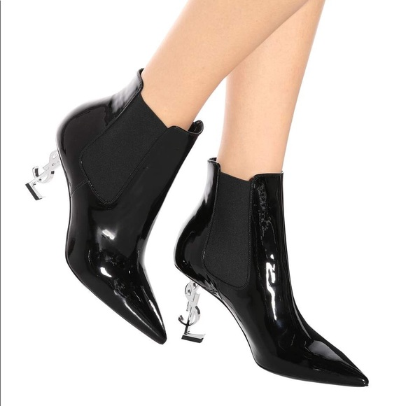 fb45fb5085c Yves Saint Laurent Shoes | Ysl Logo Heel Boots | Poshmark